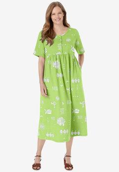 Stamped Empire Waist Dress,