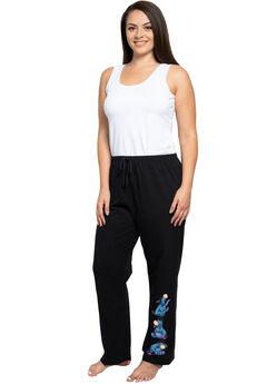 Womens Plus Size Disney Eeyore Sitting Lounge Pants Drawstring Waistband Black,