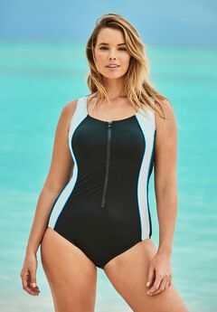 Zip-Front One-Piece with Tummy Control ,