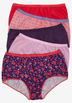 10-Pack Pure Cotton Full-Cut Brief by Comfort Choice®, RICH VIOLET FLORAL PACK