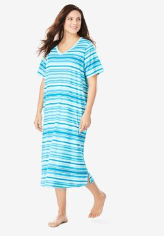 Long Print Sleepshirt by Dreams & Co.®, CARIBBEAN BLUE STRIPE