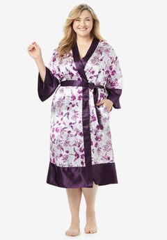 The Luxe Satin Belted Kimono by Amoureuse®, RICH VIOLET LILY