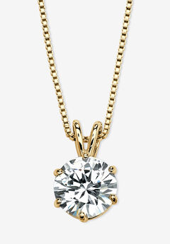 Gold over Sterling Silver Cubic Zirconia Solitaire Pendant,