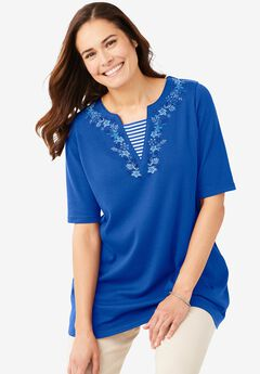 Embroidered Layered-Look Tunic, BRIGHT COBALT FLOWER EMBROIDERY