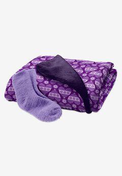 Fluffy Sock & Throw Set,