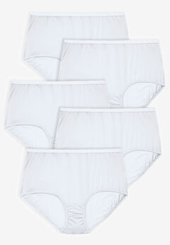 5-Pack Pure Cotton Full-Cut Brief , WHITE PACK