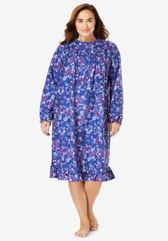 Cotton Flannel Print Short Gown by Only Necessities®, BLUE SAPPHIRE FOLIAGE