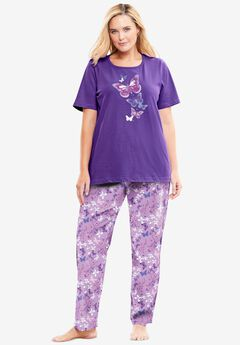 Graphic Tee PJ Set , PLUM BURST FLORAL BUTTERFLY