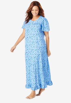 Long Floral Print Cotton Gown by Dreams & Co.®, FRENCH BLUE BOUQUET