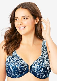 Embroidered Front-Close Underwire Bra ,
