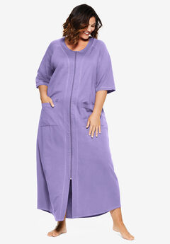 Long French Terry Zip-Front Robe by Dreams & Co.®, SOFT IRIS