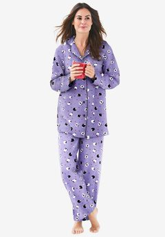 Classic Flannel Pajama Set by Dreams & Co.®, SOFT IRIS SHEEP