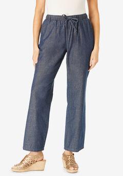 Pull-On Elastic Waist Cotton Chambray Pants,