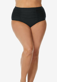 Shirred High-Waist Swim Brief by Raisins Curve, BLACK