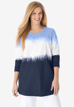 Tie-dyed knit sweatshirt tunic, NAVY IKAT TIE DYE