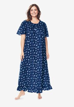Long Floral Print Cotton Gown by Dreams & Co.®, EVENING BLUE FLOWERS