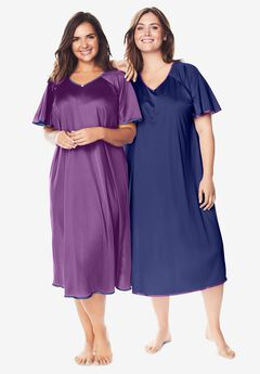 2-Pack Short Silky Gown , FRESH BERRY ULTRA BLUE