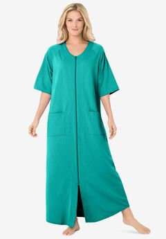 Long French Terry Zip-Front Robe, AQUAMARINE