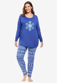 2-Piece PJ Legging Set by Dreams & Co.®, BLUE SAPPHIRE SNOWFLAKE