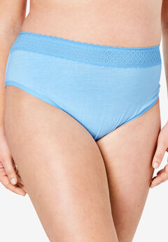 3-Pack Lace Waistband High-Cut Brief by Comfort Choice®, BABY BLUE PACK