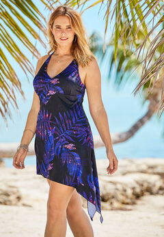 Multi-Style Convertible Swim Dress, EVENING ABSTRACT LEAVES