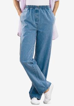 Elastic-Waist Cotton Straight Leg Pant, LIGHT STONEWASH