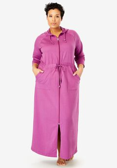 Tie Waist Zip-Front Hooded Robe by Dreams & Co.®,