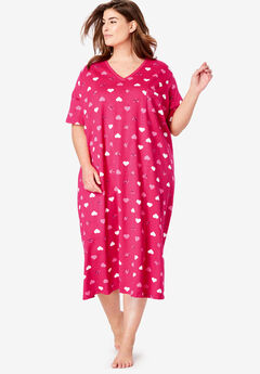 Long Print Sleepshirt by Dreams & Co.®, RADIANT PINK HEARTS