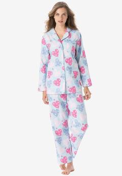Classic Flannel Pajama Set by Dreams & Co.®, SKY BLUE HEARTS