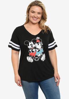 Disney Mickey & Minnie Mouse Classic V-Neck T-Shirt Black,