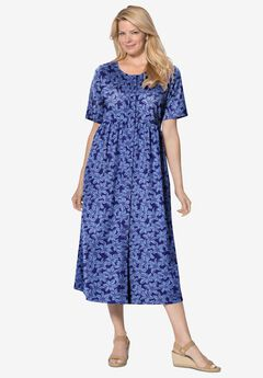 Button-Front Essential Dress, NAVY PRETTY BLOSSOM