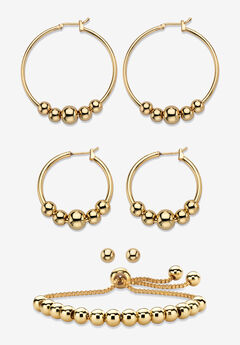 4-Piece Beaded Earrings and Bracelet Set in Goldtone,