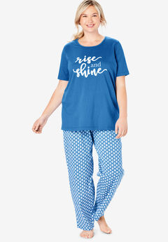 Graphic Tee PJ Set by Dreams & Co®, CORNFLOWER BLUE SHINE
