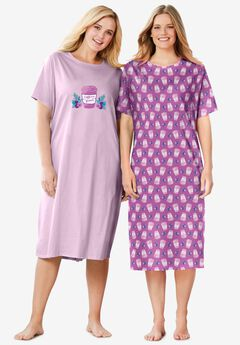 2-Pack Long Sleepshirts , ROSEBUD CAFFEINE QUEEN
