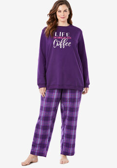 Fleece Sweatshirt Pajama Set by Dreams & Co.®,