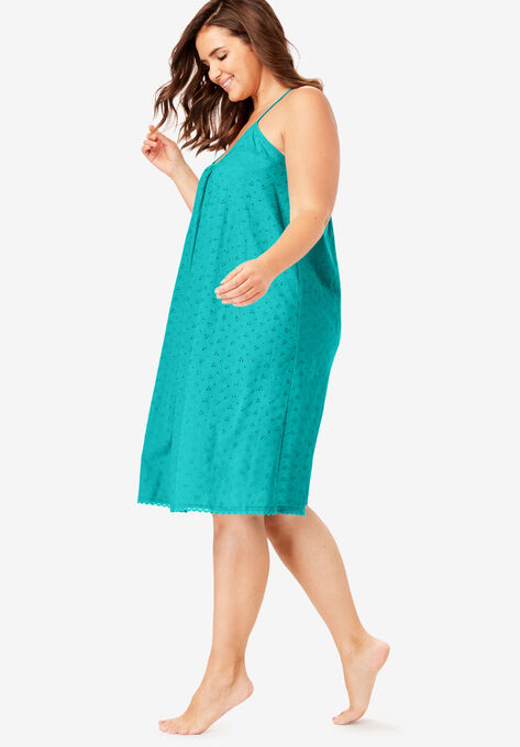 1f536b44fc8a2 Breezy Eyelet Short Nightgown by Dreams & Co.®| Plus Size Sleep ...