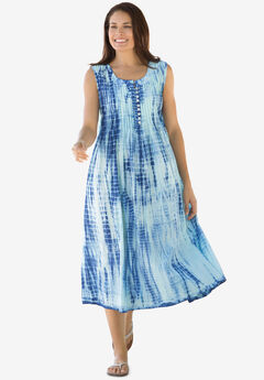 Sleeveless Pintuck Tie-Dye Dress, EVENING BLUE TIE DYE