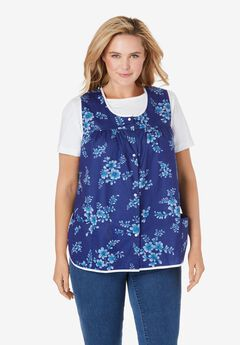 Snap-Front Apron by Only Necessities, ULTRA BLUE BOUQUET