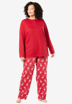 Henley PJ Set by Only Necessities®, RED REINDEER
