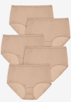 5-Pack Nylon Full-Cut Brief by Comfort Choice®, NUDE PACK