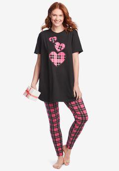 Graphic Tunic PJ Set, BLACK HEARTS