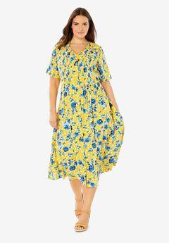 Short-Sleeve Button-Front Dress,