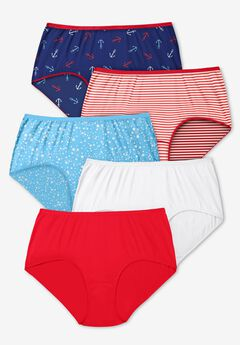 5-Pack Pure Cotton Full-Cut Brief , ANCHOR PACK