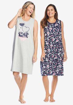 2-Pack Sleeveless Sleepshirt , NAVY PAISLEY HEARTS