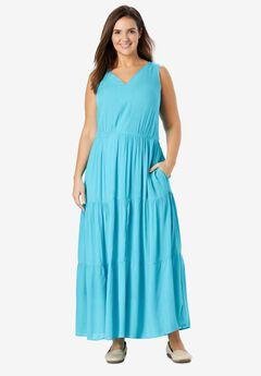 Sleeveless Tiered Crinkle Dress, CARIBBEAN BLUE