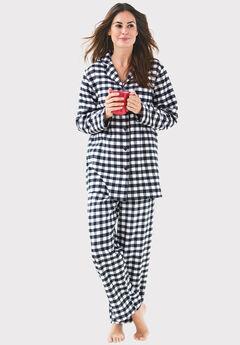 Classic Flannel Pajama Set by Dreams & Co.®, BLACK WHITE PLAID