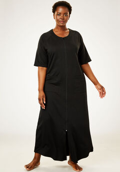 Long French Terry Zip-Front Robe by Dreams & Co.®, BLACK