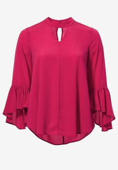 Flounce-Sleeve Blouse by ellos®,