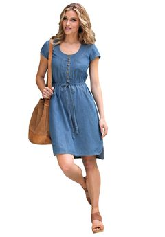 Denim Drawstring Dress by ellos®,