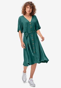 Button-Front Tie-Waist Shirtdress by ellos®,